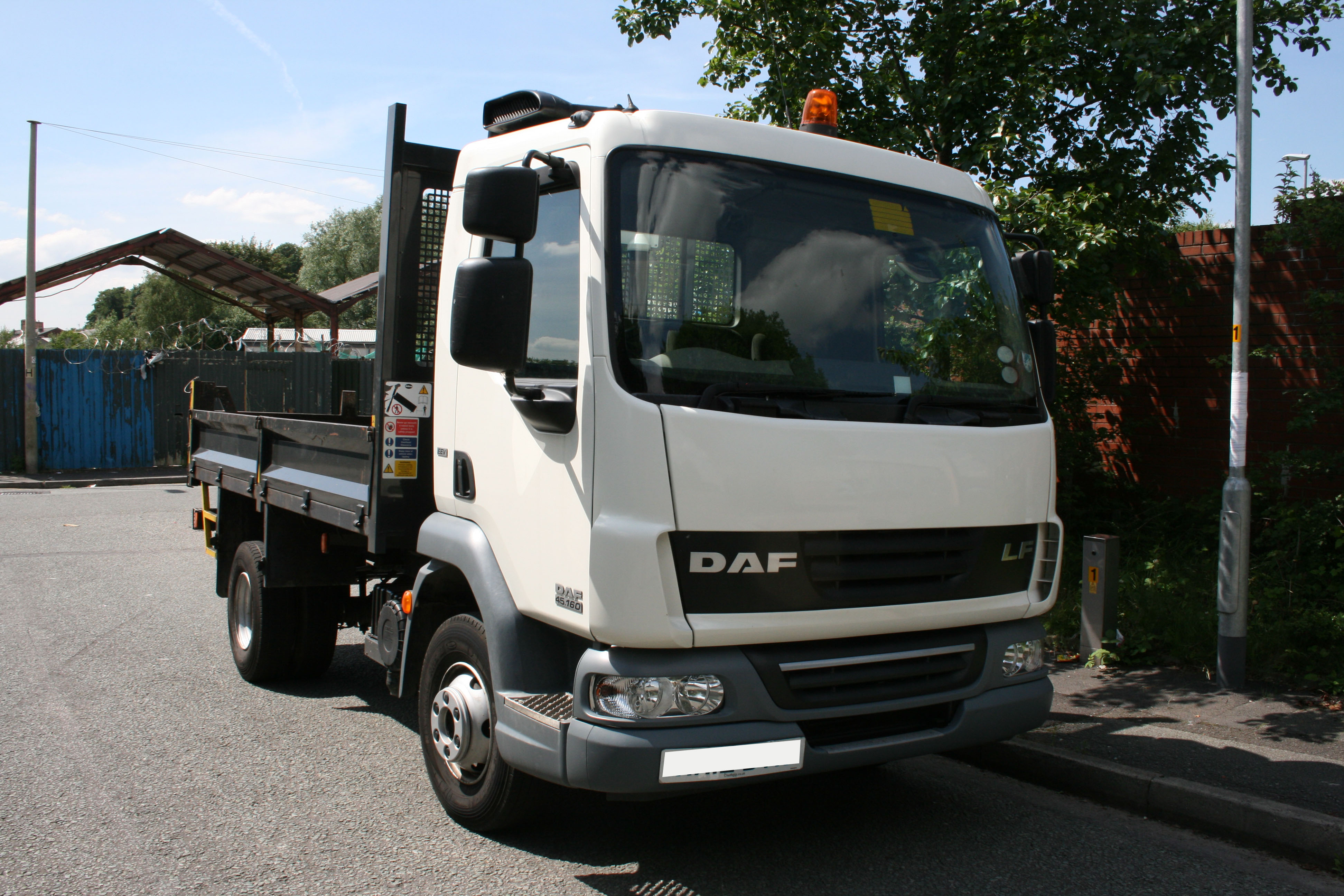 A 7.5 tonne DAF tipper (Not covered by self-drive insurance and £500 deposit required) for hire in Middleton